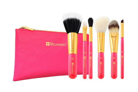 BH Cosmetics Neon Pink - 6 Piece Brush Set with Cosmetic Bag