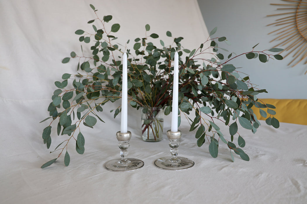 Glass Floral Taper Candle Holder Set