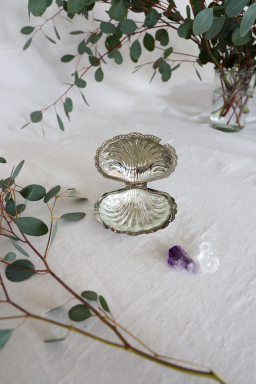 Silver Seashell Glass Ashtray with Crystals