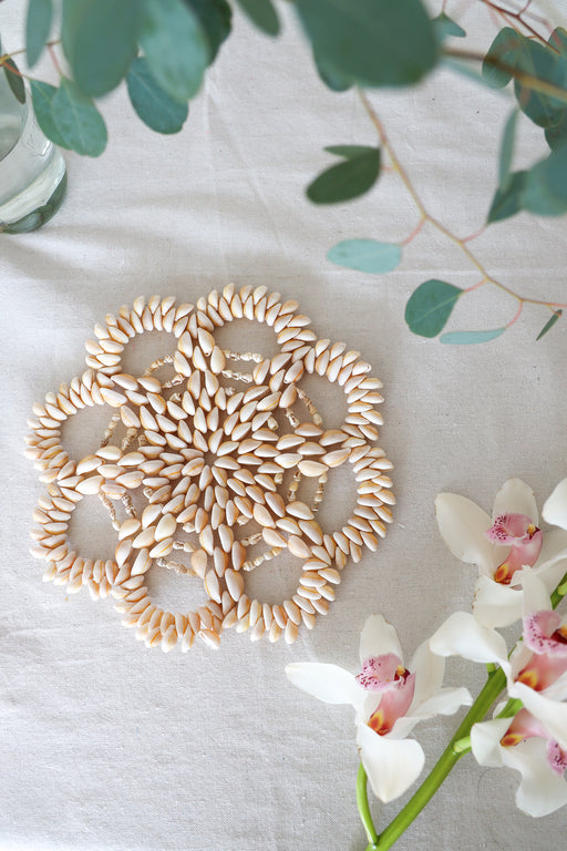 Large Flower Shaped Cowrie Shell Plate Warmer