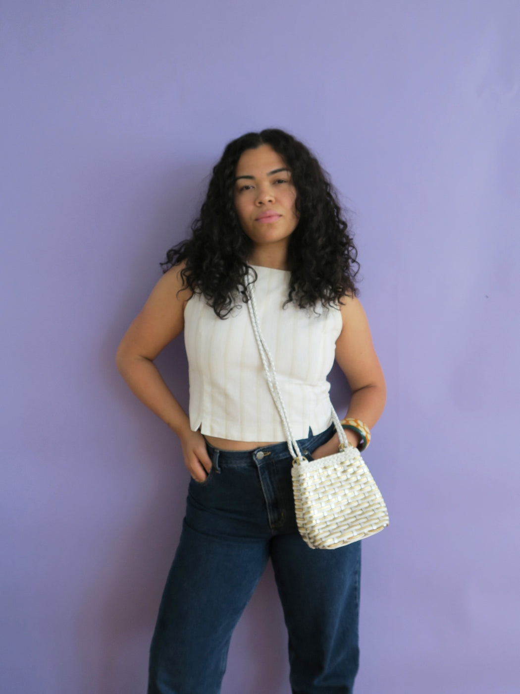 White Braided Leather Vintage Crossbody Bag