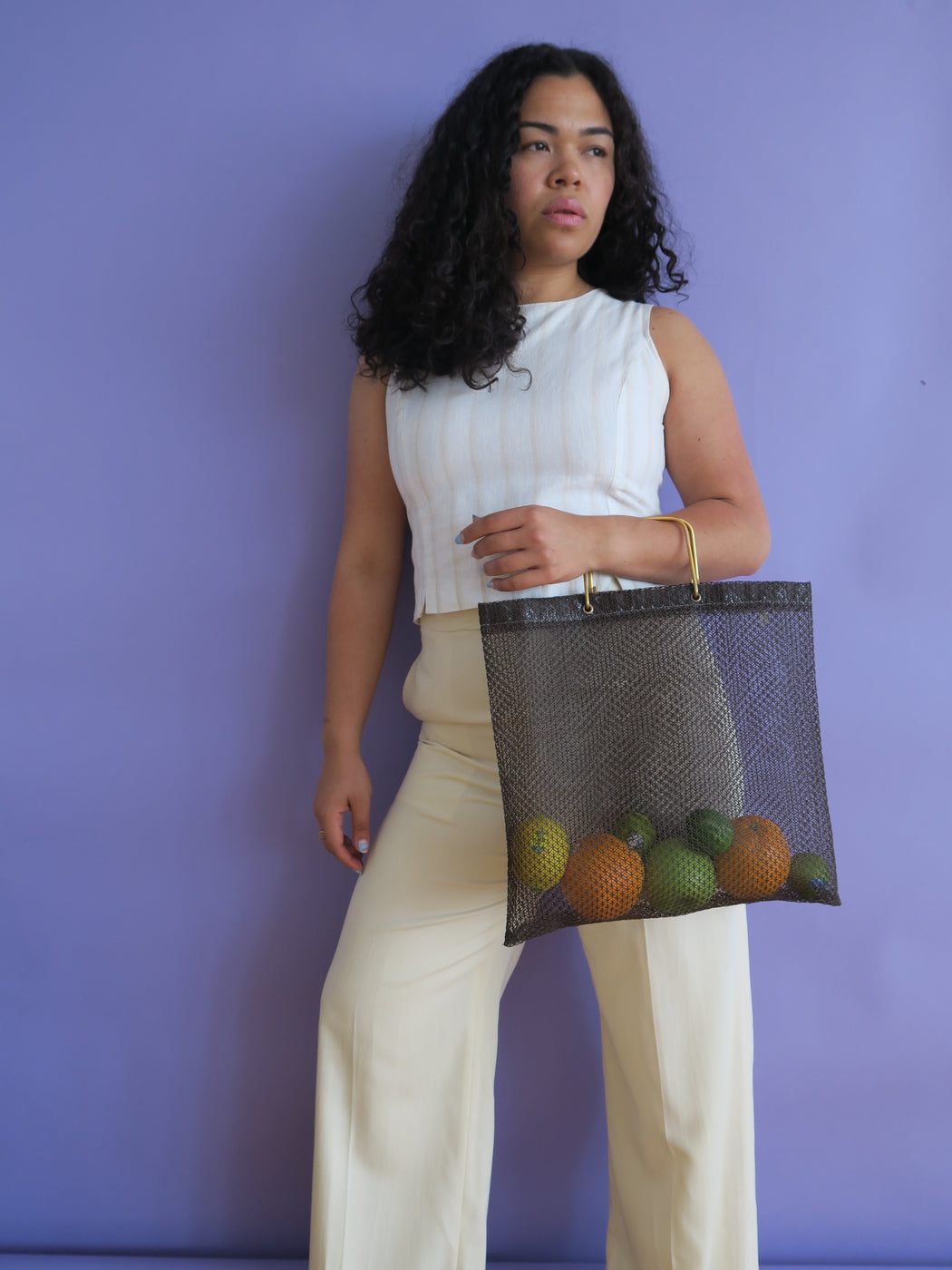 1970s Brown Vintage Mesh Tote Bag