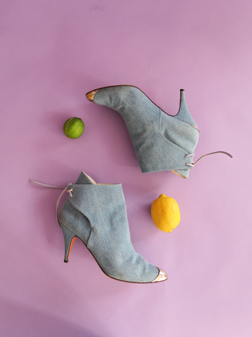 1980s Vintage Denim Booties w/ Silver Toe