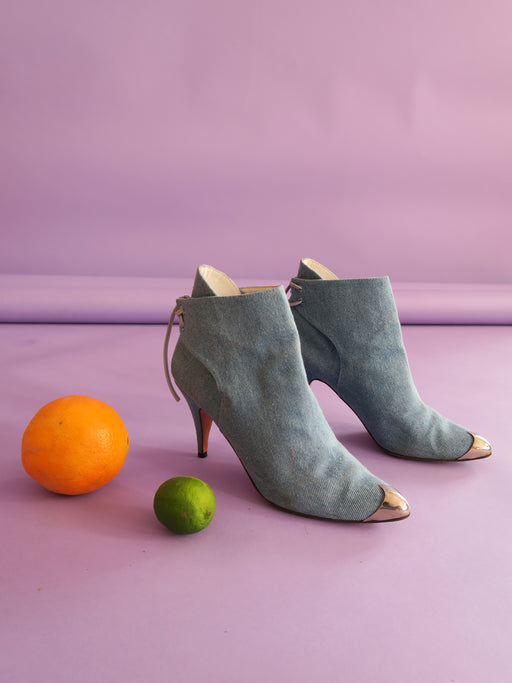 Vintage Denim Booties with Silver Toe