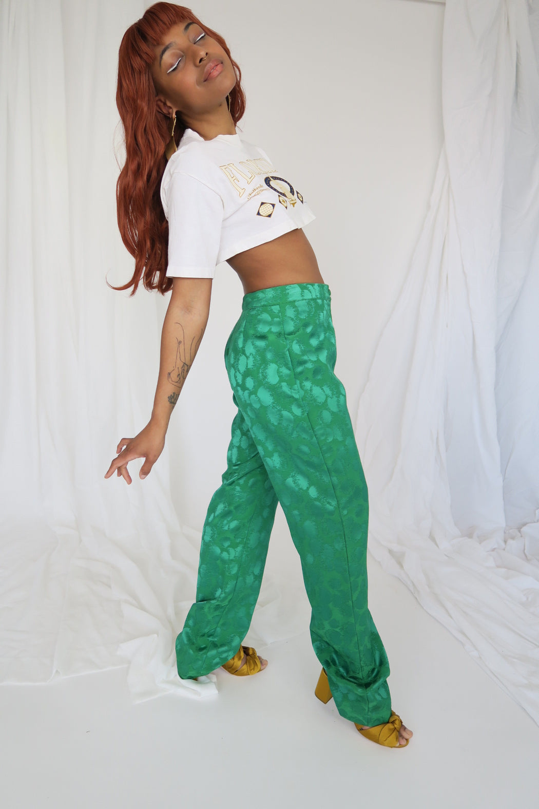 Kelly Green Embossed Pants
