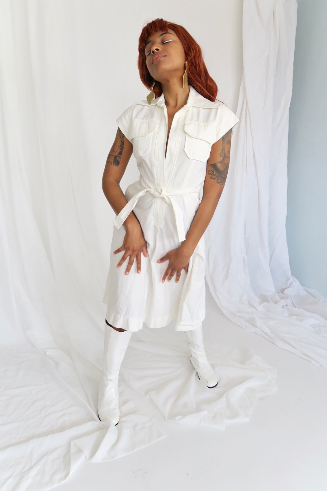 White Denim A-Line Dress