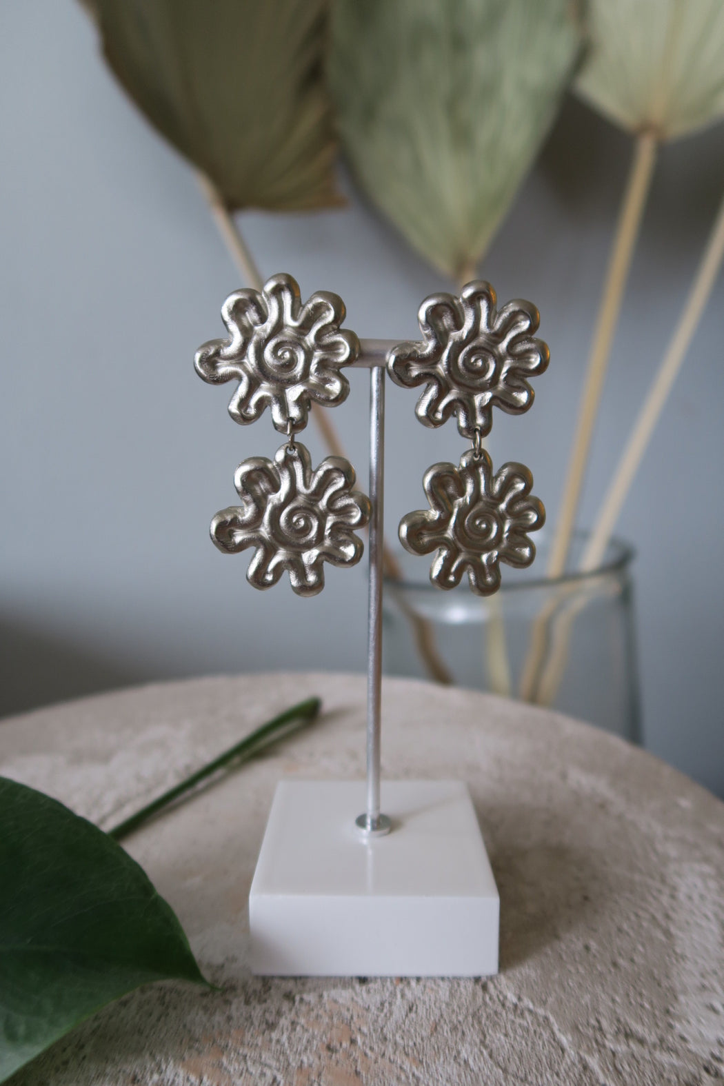 Silver Double Daisy Vintage Clip On Earrings