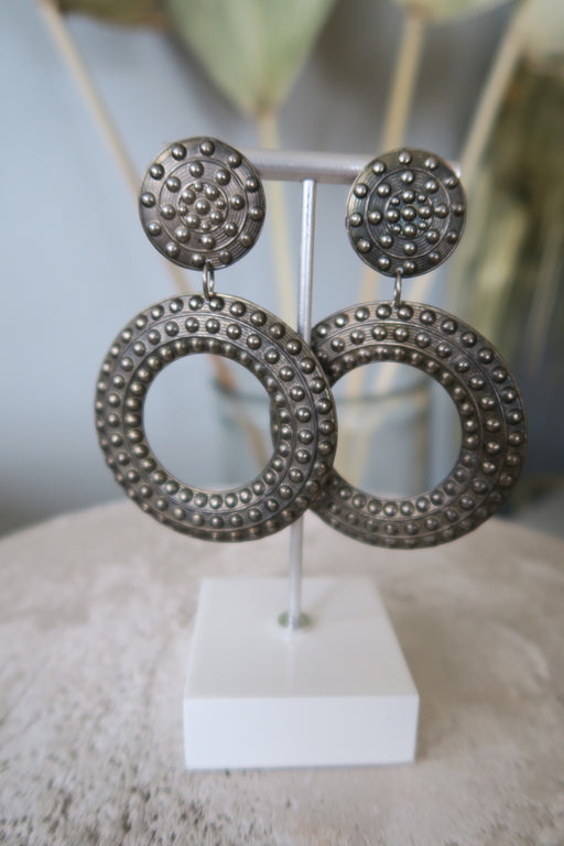Pewter Studded Dangle Hoop Clip on Earrings