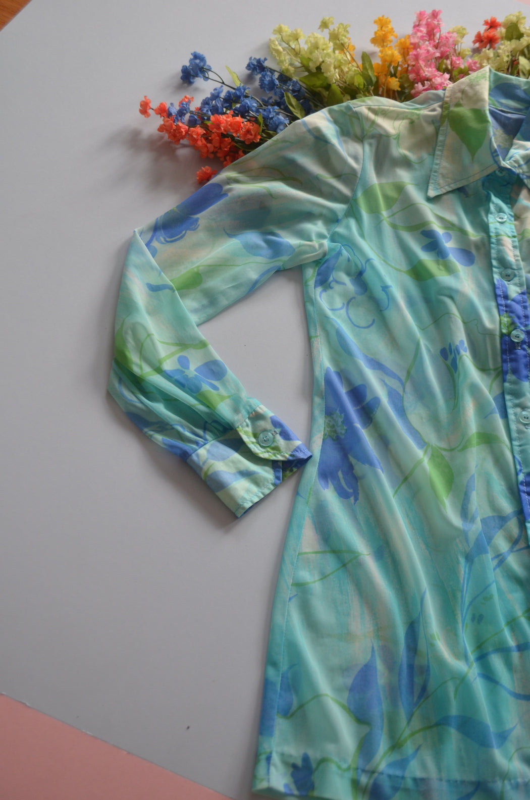Turquoise 70s Blouse