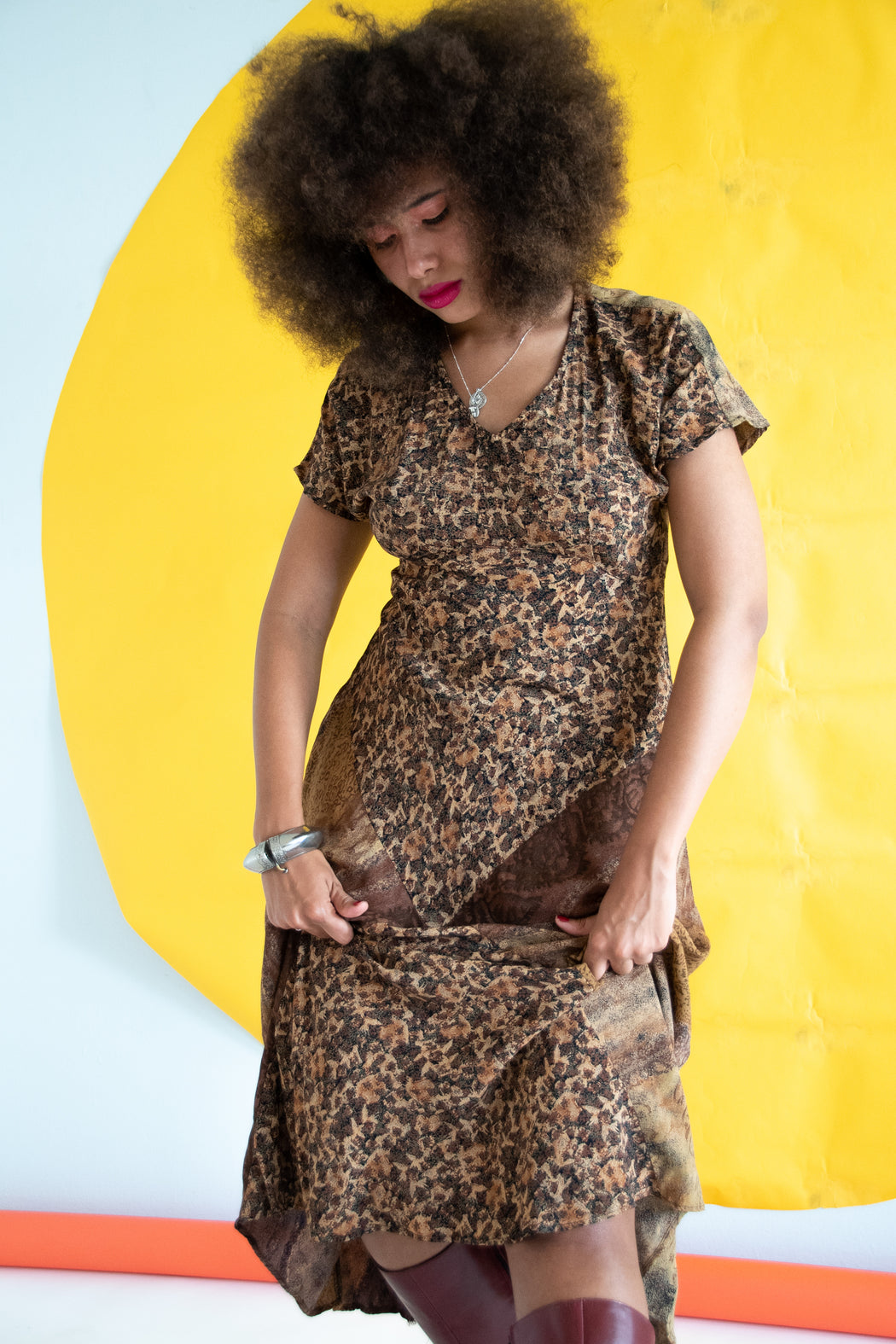 80s Leopard Patchwork Dress