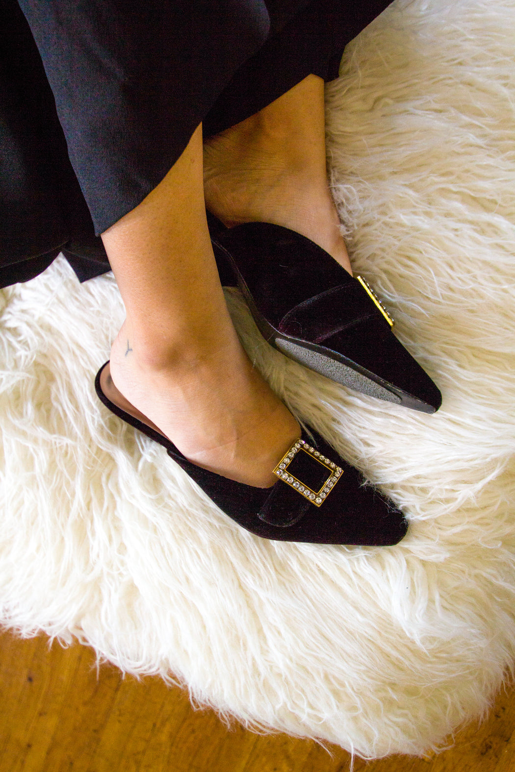 Black Velvet Mules with Crystal Buckle