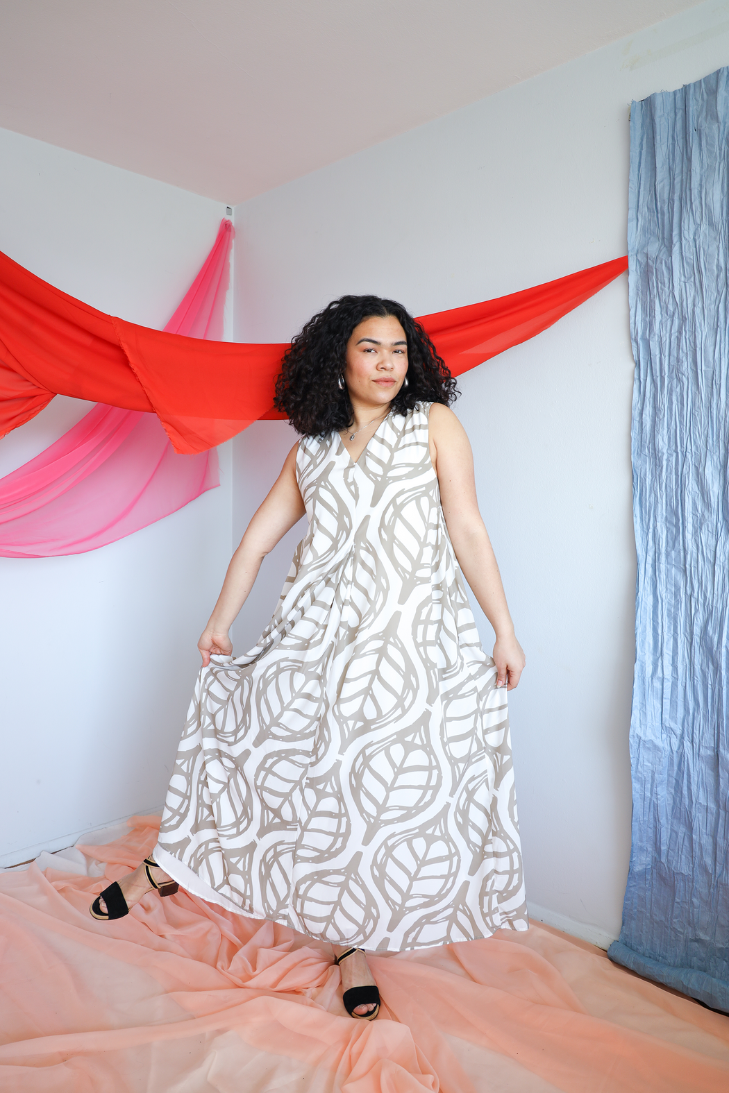 Whit Banana Leaf Print Maxi Tunic Dress
