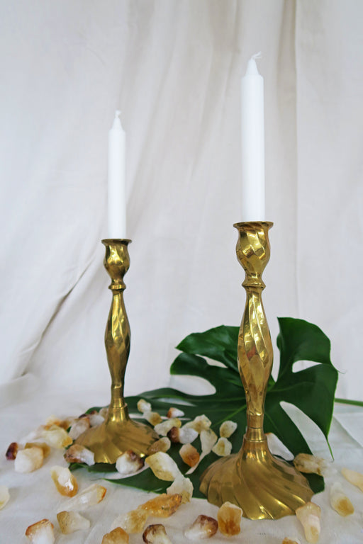 Swirl Brass Candlestick Holders - Pair