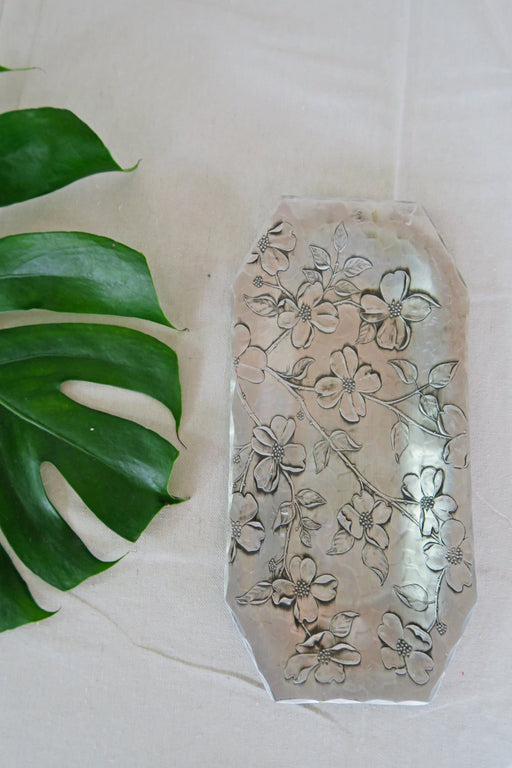 Floral Pewter Tray