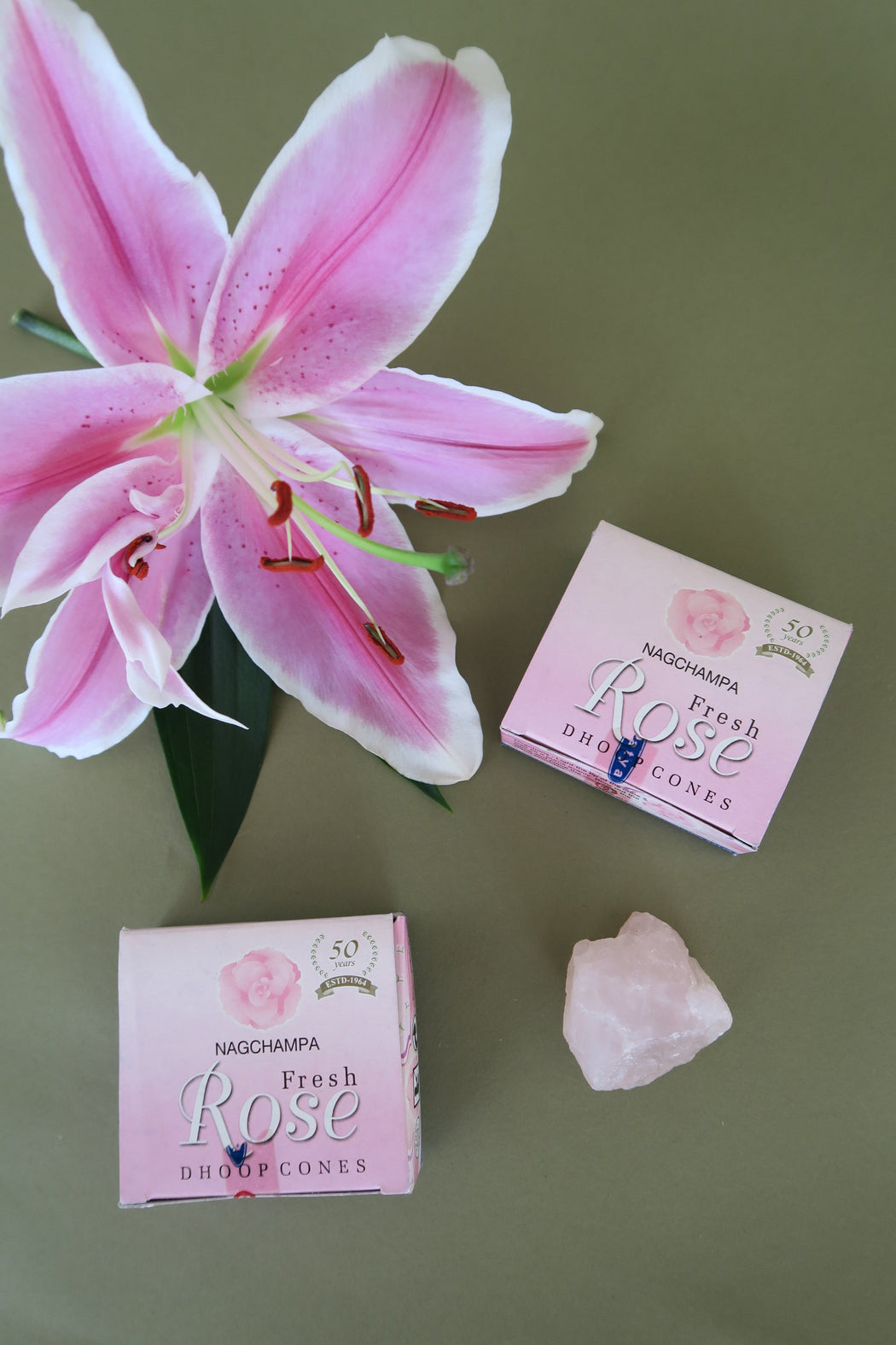 Rose Incense Cone Duo with Rose Quartz Crystal Set