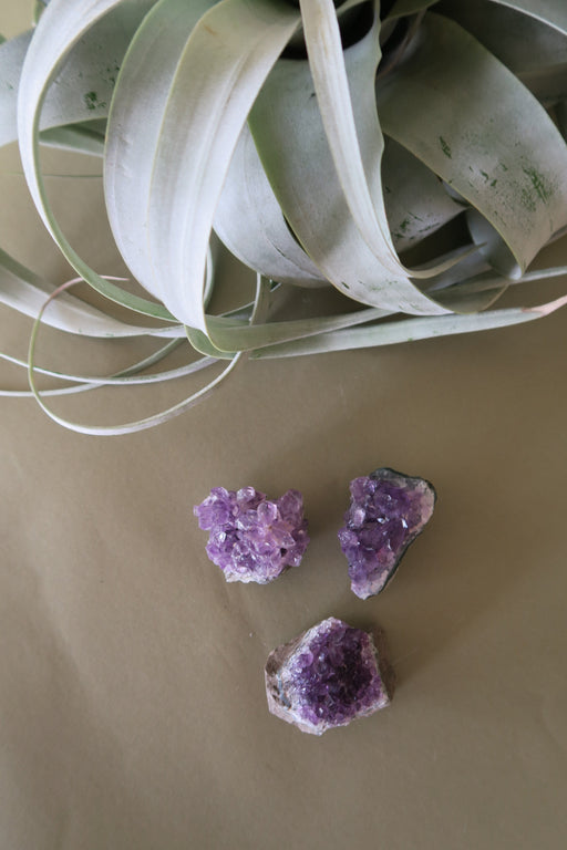 Small Amethyst Cluster Trio Set