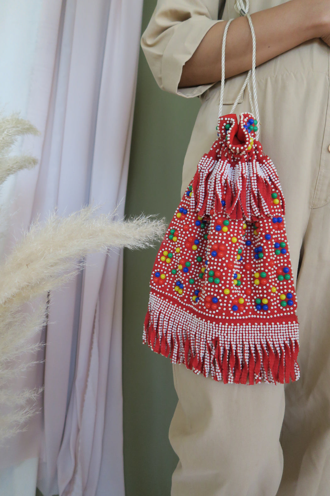 Red Fringe Beaded Drawstring Purse