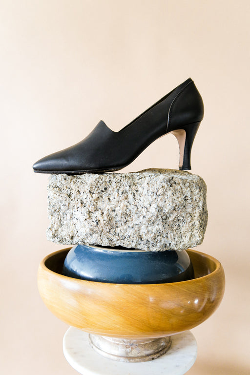 Italian Black Vintage Leather Pumps