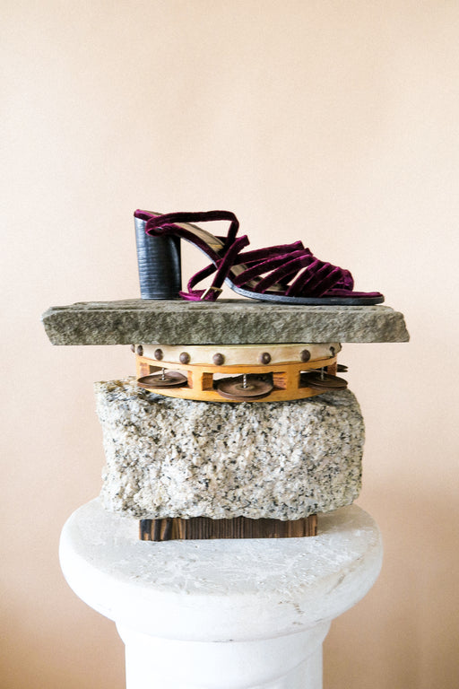Vintage Robert Clergerie Velvet Wrap Sandals