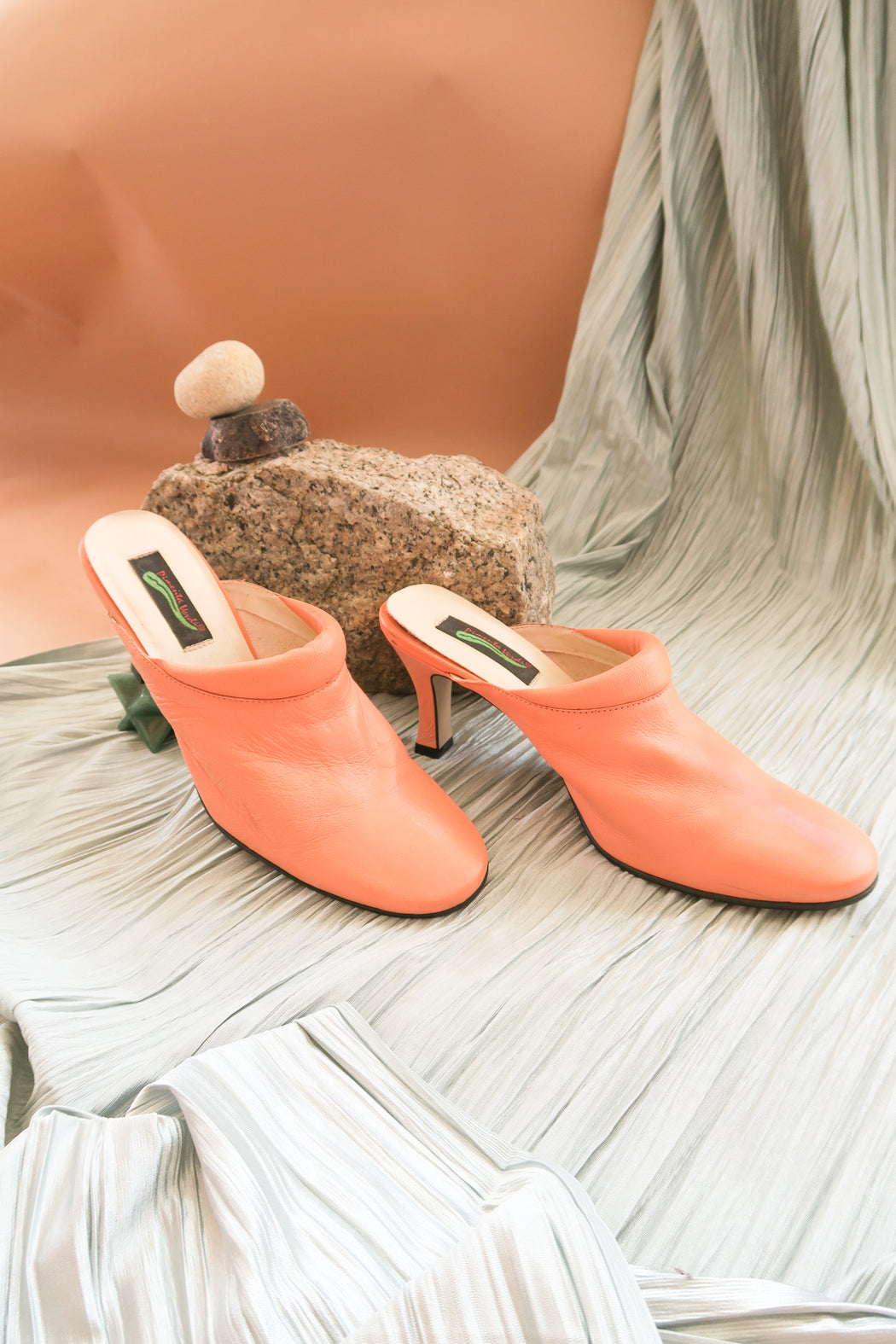 Orange Sorbet Vintage Leather Mules