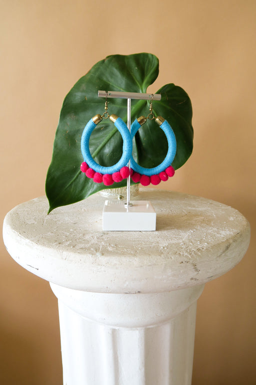 Aqua Pom Pom Earrings