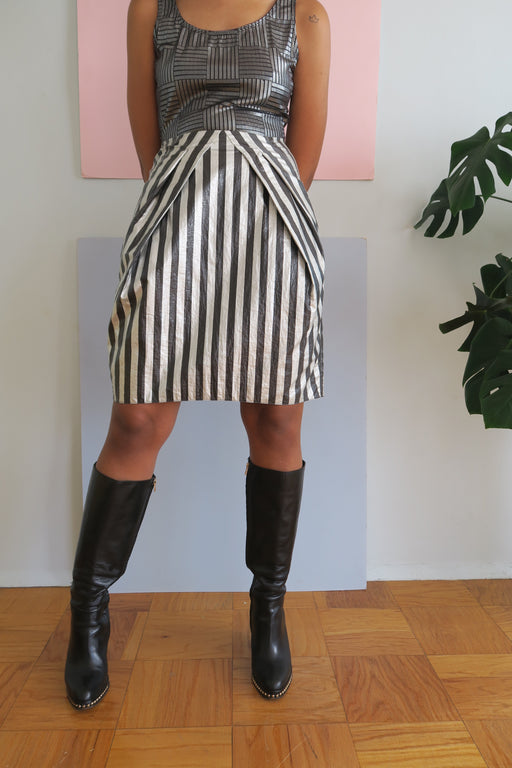 Futuristic Emporio Armani Striped Skirt