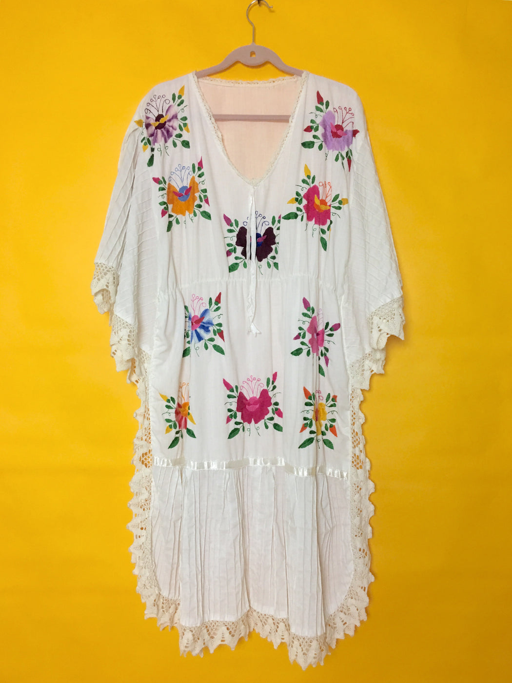 Vintage 1970s Embroidered Butterfly Huipil