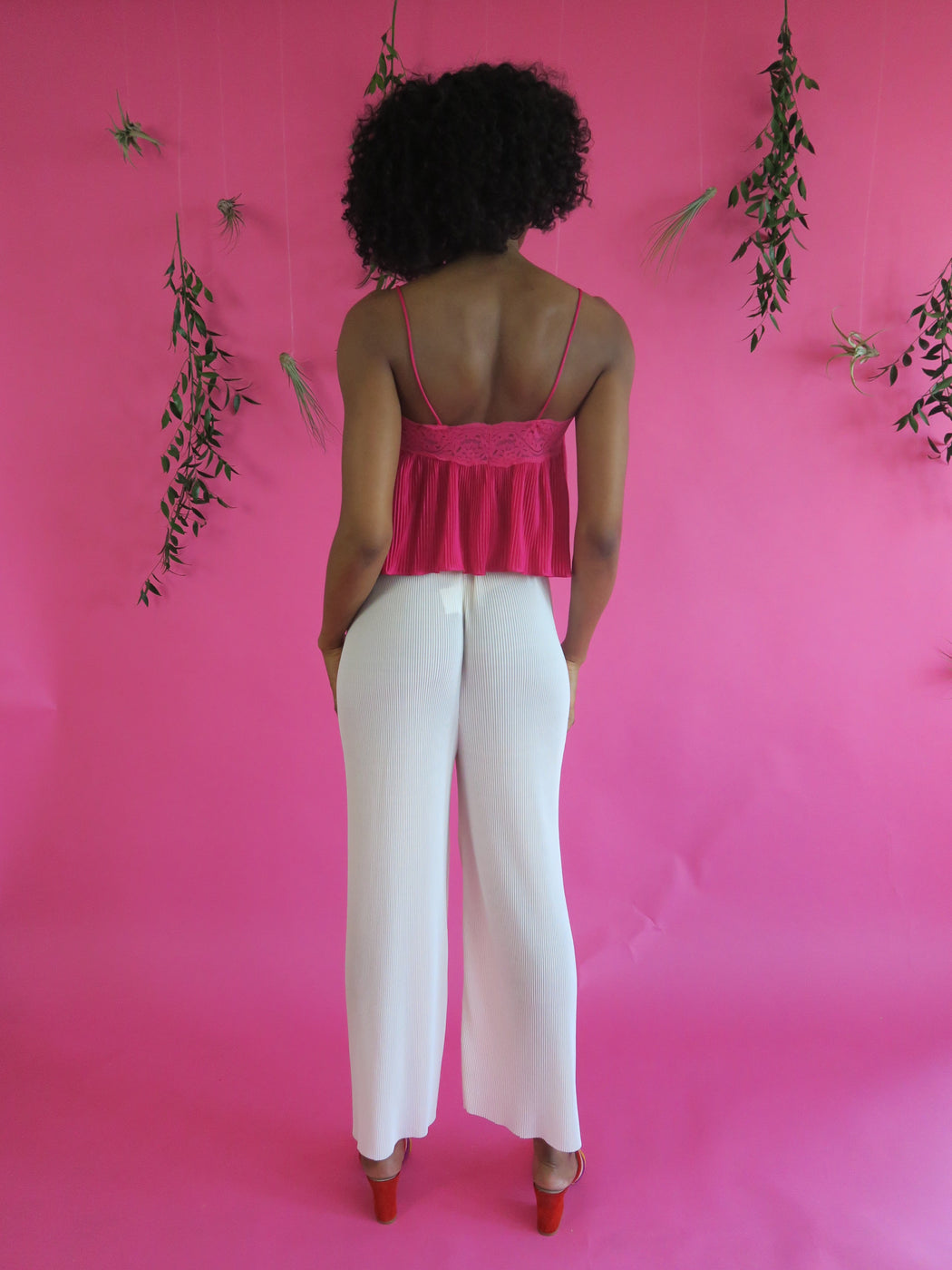 Accordion Trouser Pants in Off White