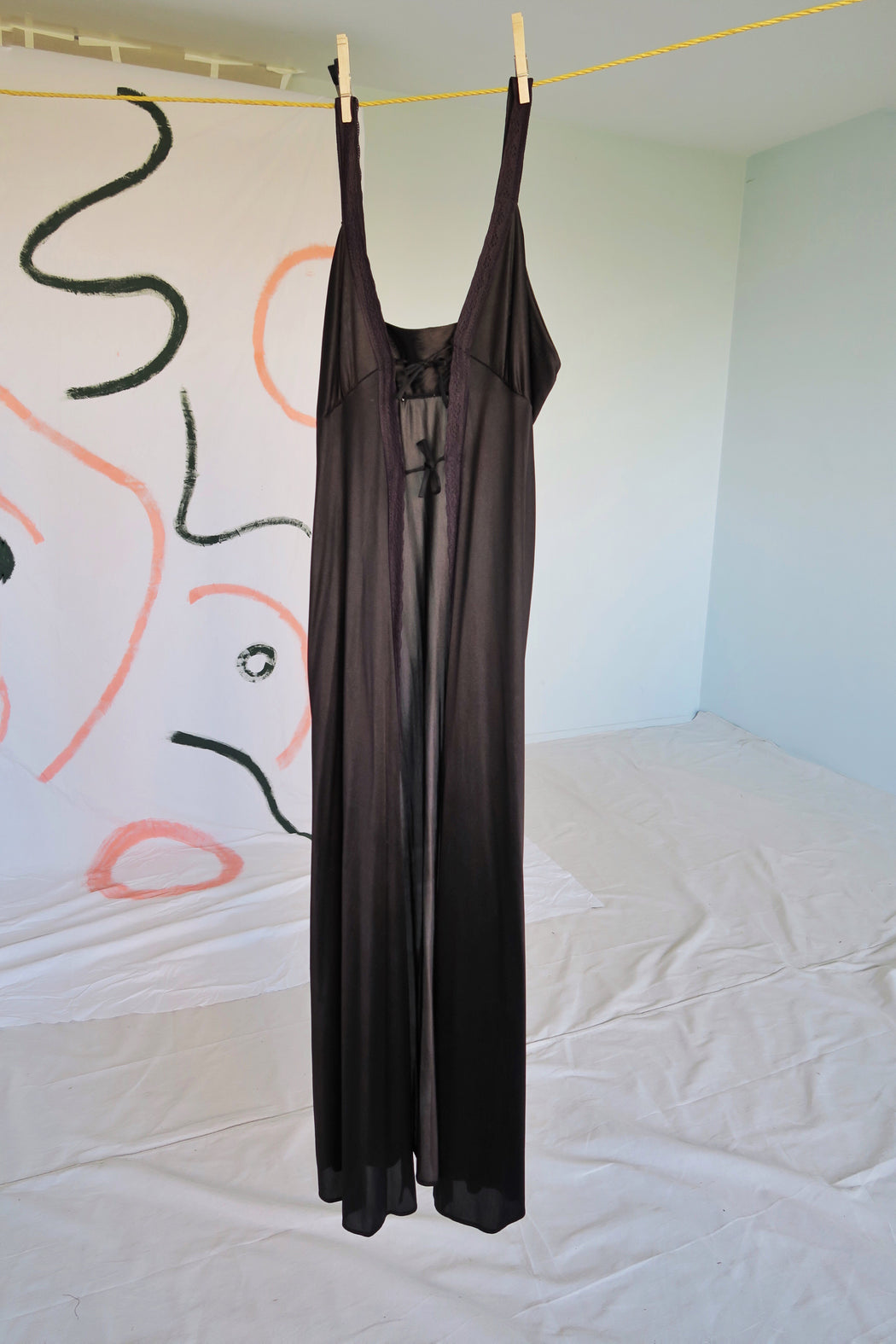 Black Front-Tie Slip Dress