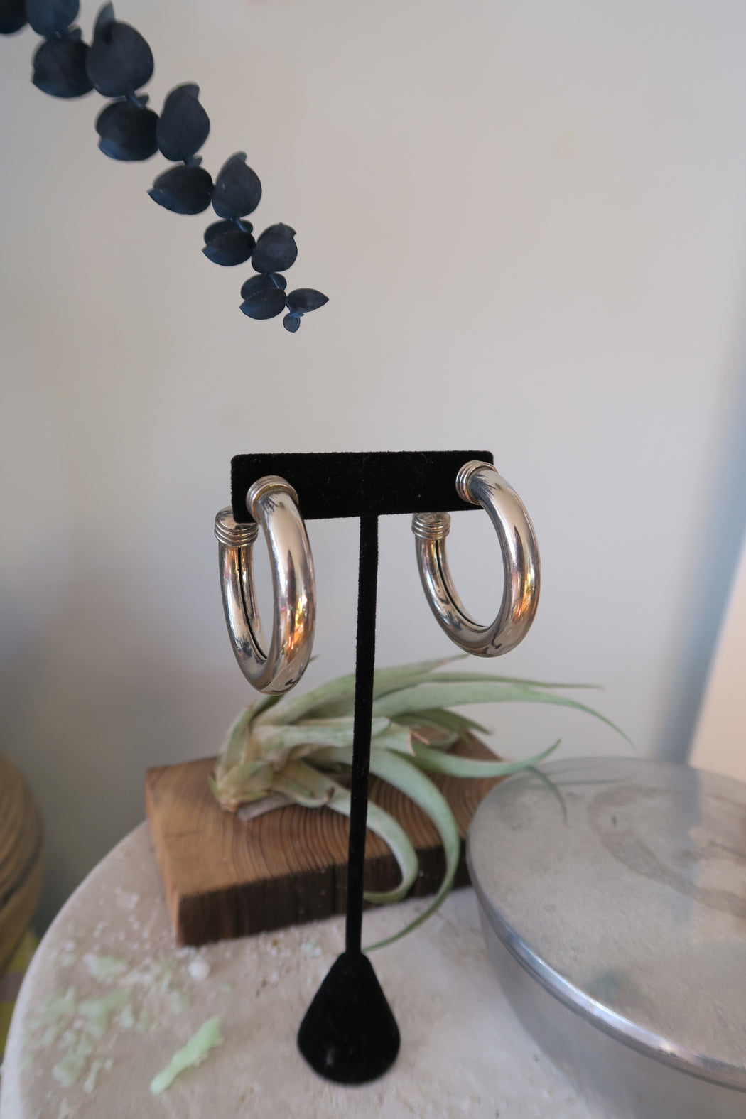 Minimal Vintage Silver Hoops in Pewter