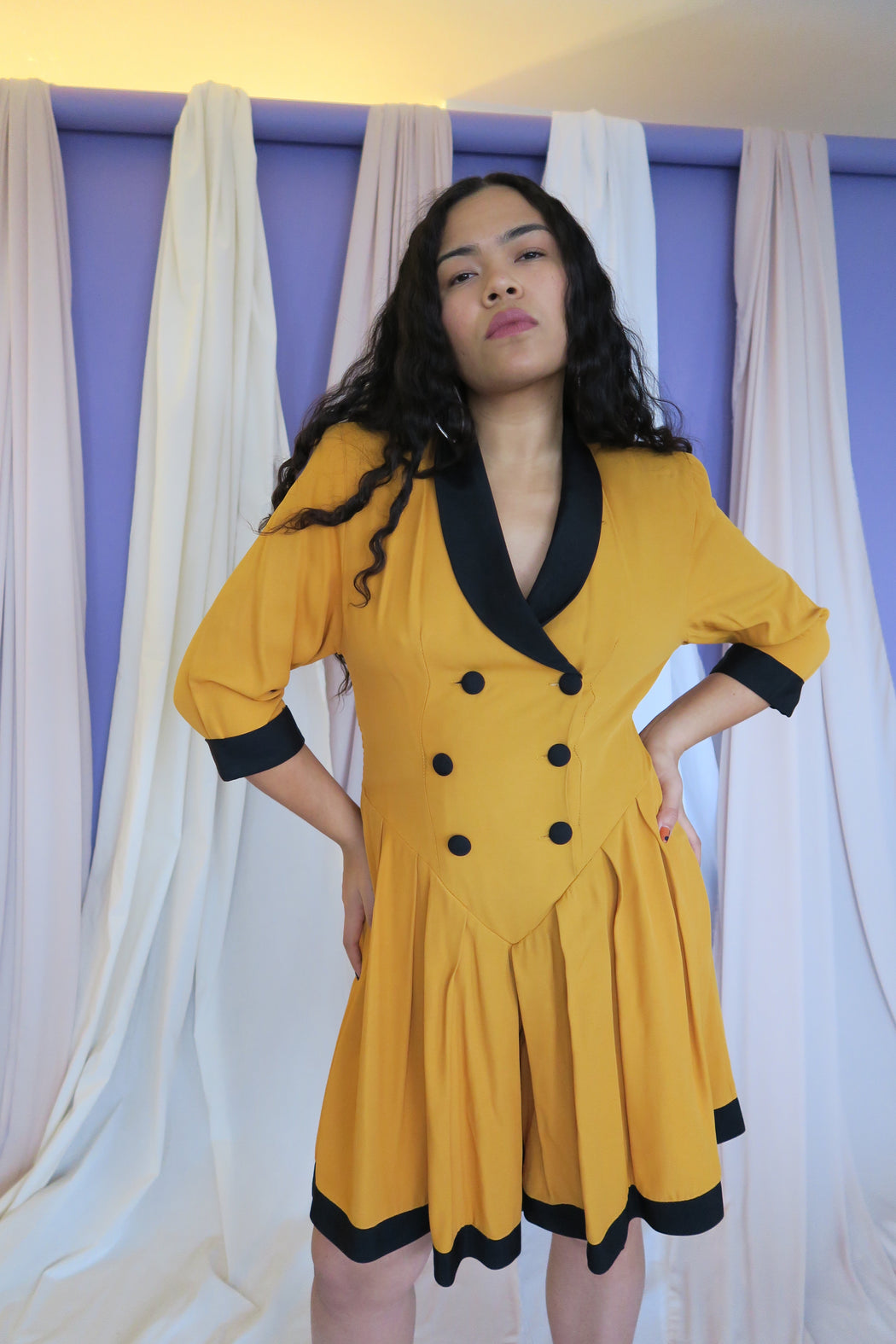 Mustard Vintage Double Breasted Romper with Black Lapel