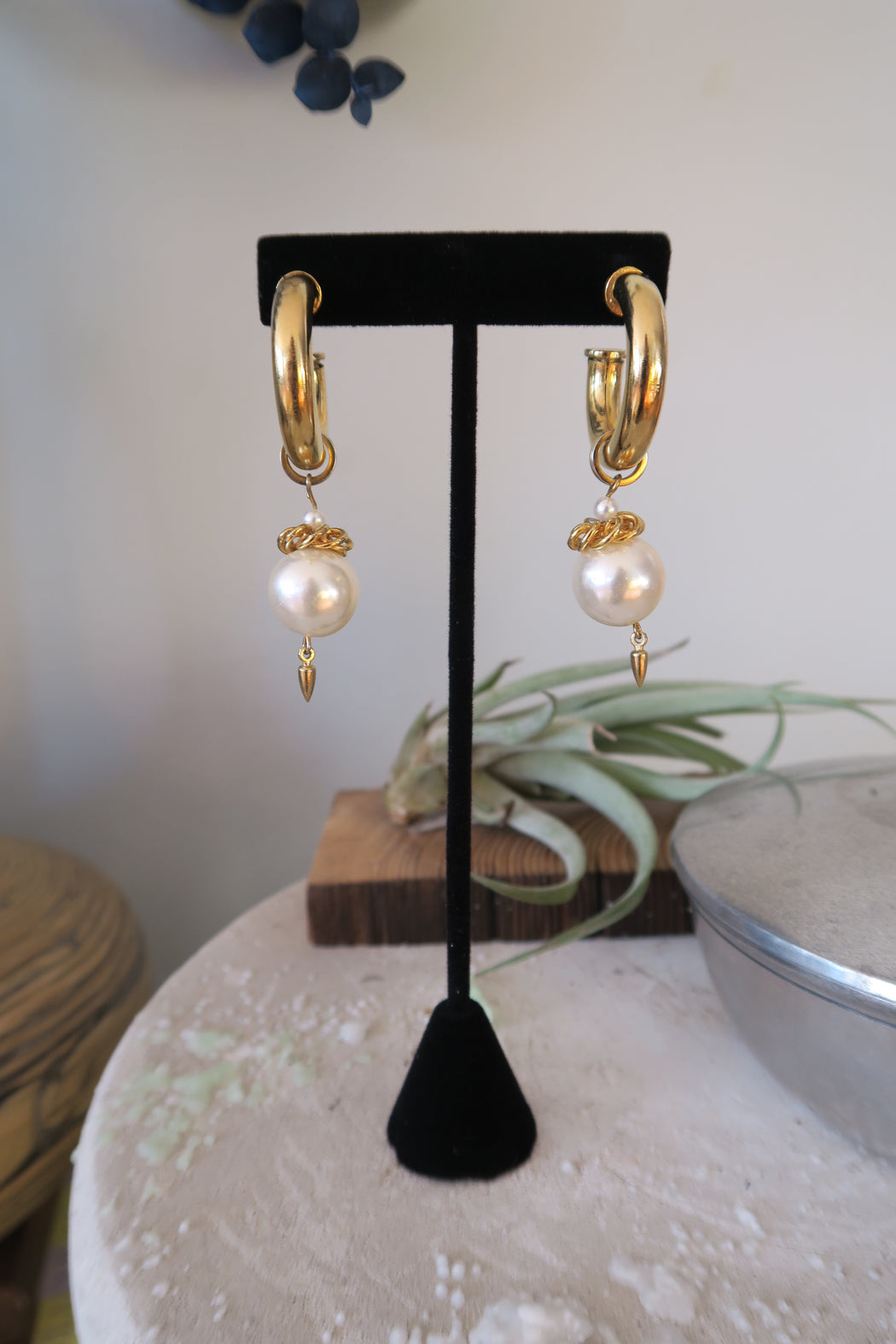 Gold Hoop Earrings with Dangling Oversized Pearl