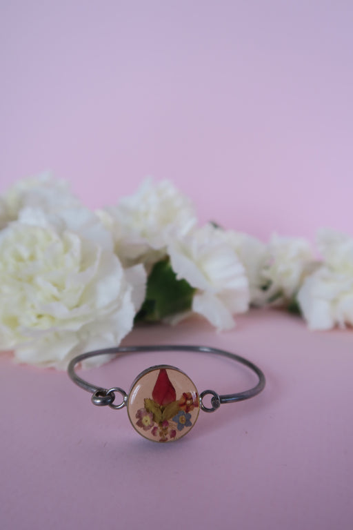Mexican Dried Floral Silver Bracelet