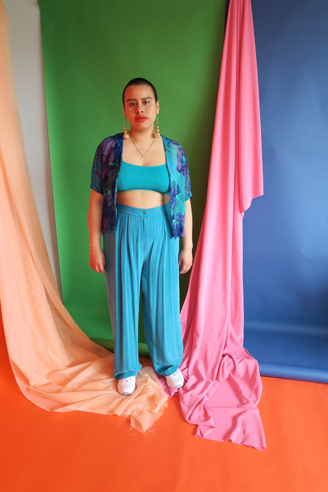 Turquoise Vintage Silk Pleated Trousers