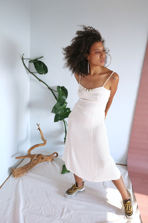 White Crinkle Midi Dress