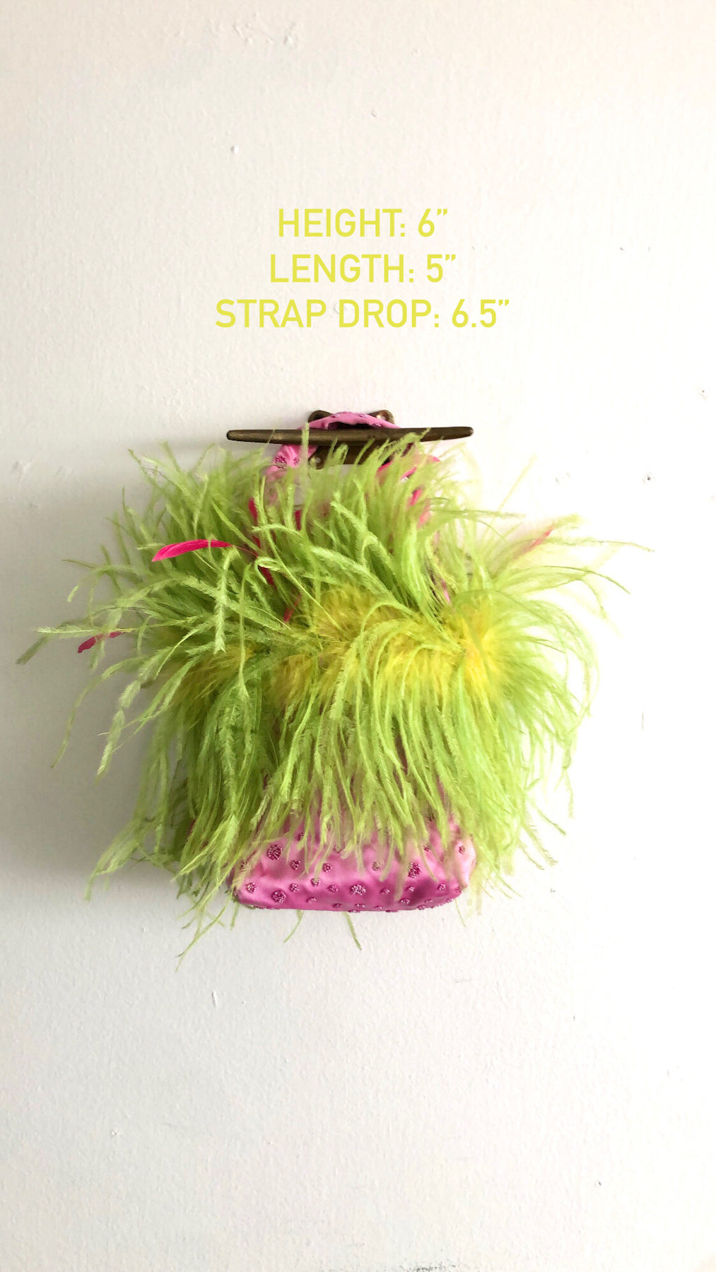 HOT PINK AND LIME MARABOU MINI BAG