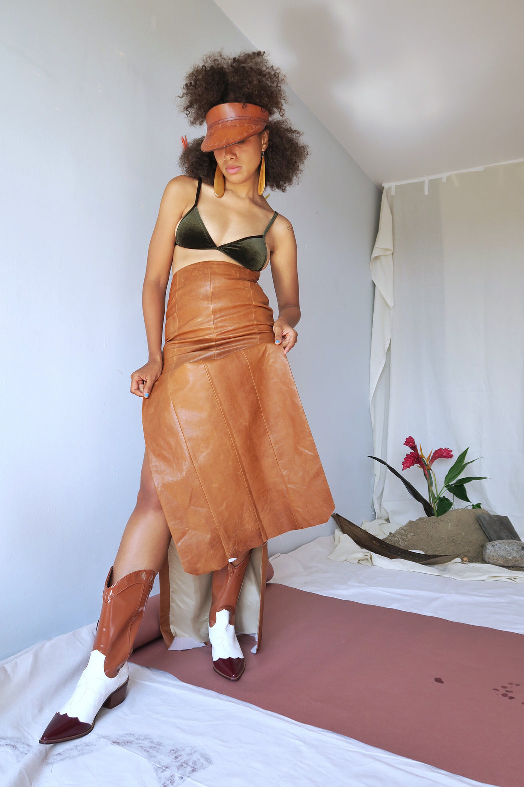 Edun High Waisted Leather Maxi Skirt
