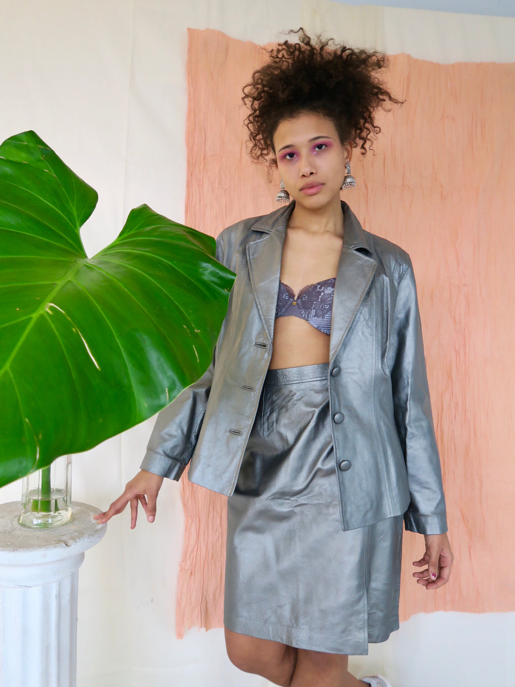 Metallic Leather Skirt Suit in Gunmetal