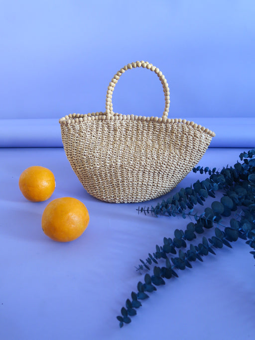 90s Straw Bag with Wooden Beaded Handle