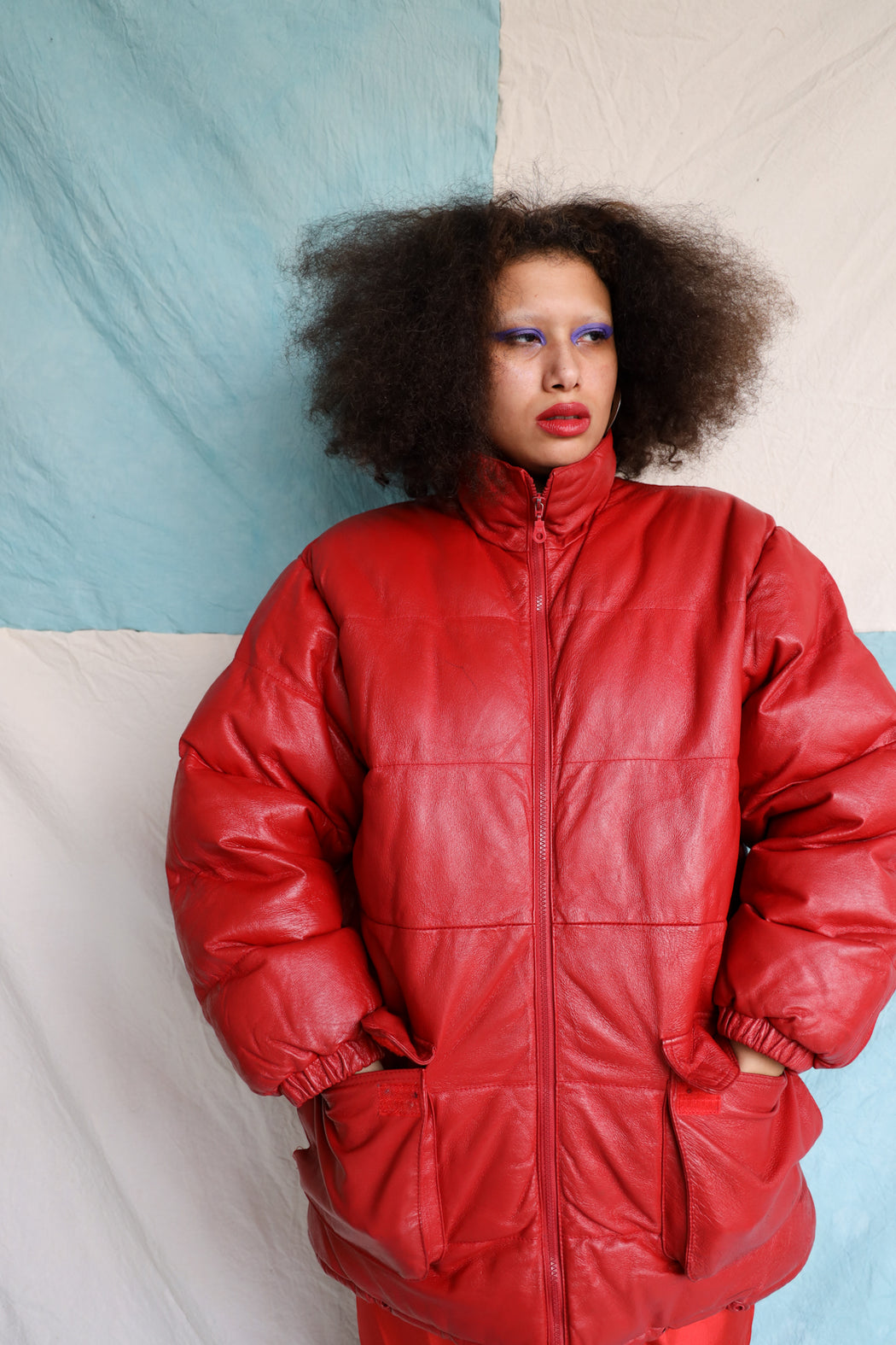 RED LEATHER PUFFER COAT