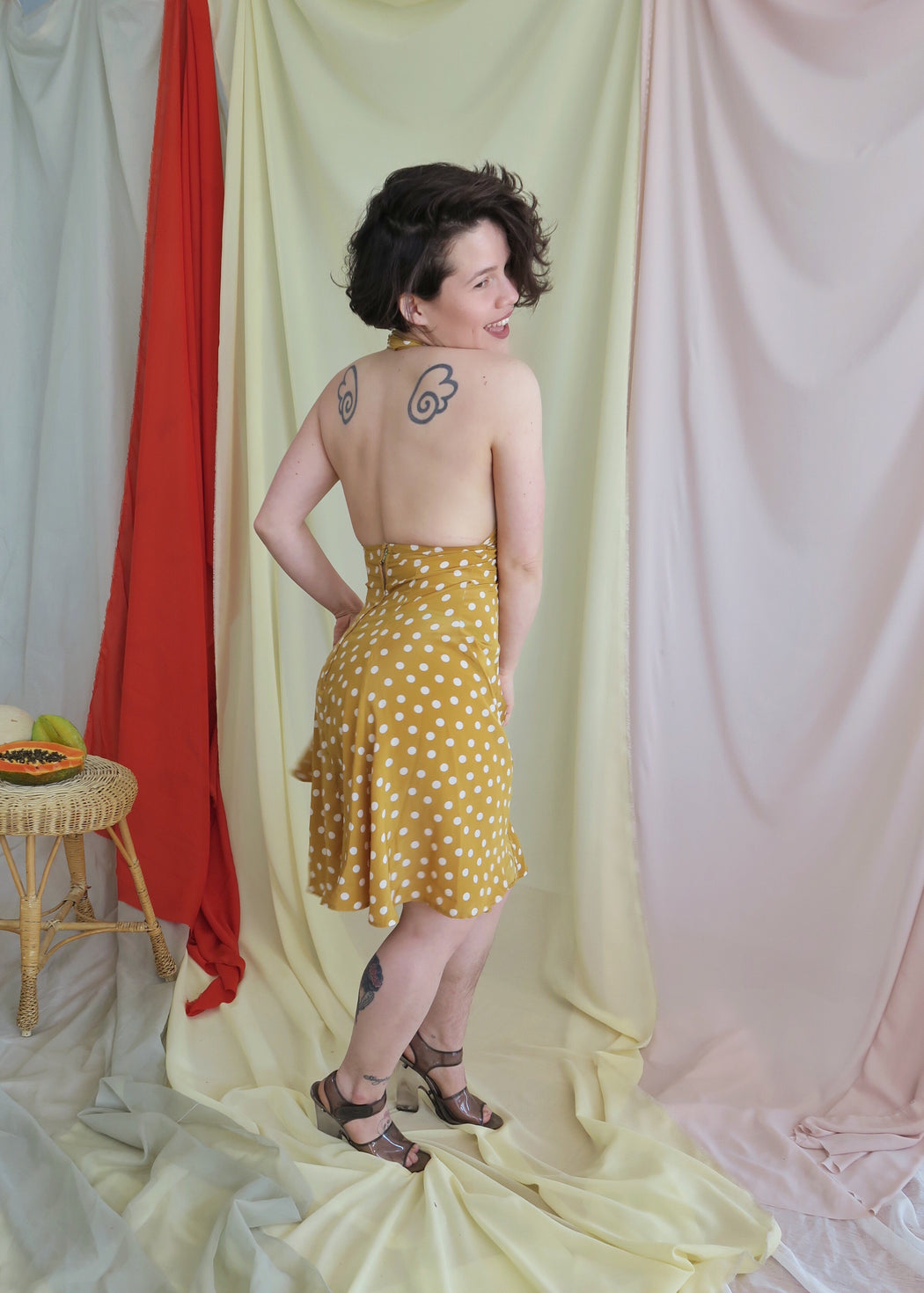 Vintage Mustard Polka Dot Swing Dress