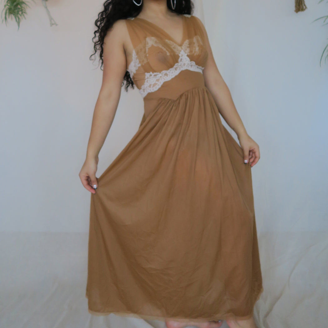 Taupe Vintage Nylon Slip Dress with Lace Detail