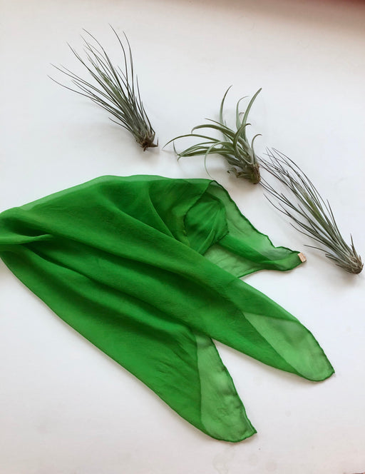 Sheer Vintage Green Silk Scarf