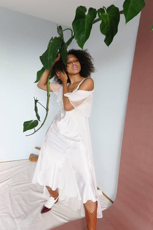 White Satin Angel Slip Dress
