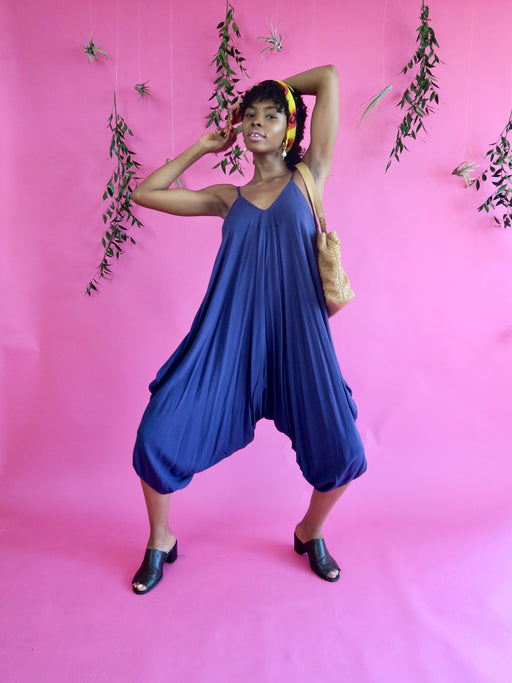 Harem Jumpsuit Romper in Jay-Z Blue