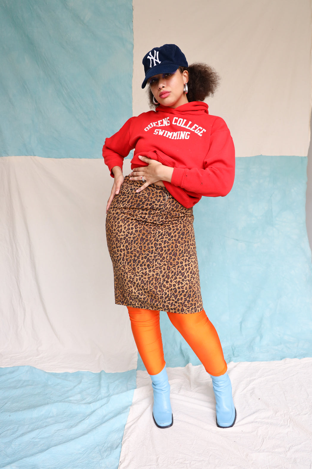 LEOPARD DENIM PENCIL SKIRT - RL