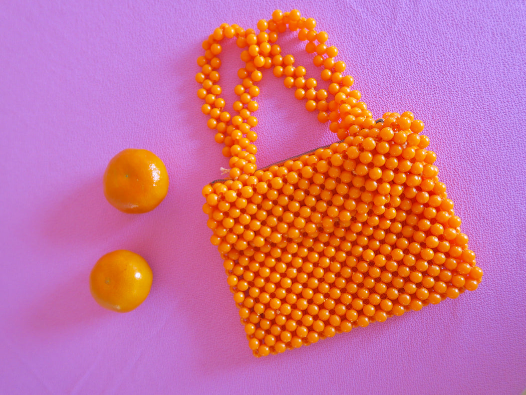 Italian Orange Beaded Bag
