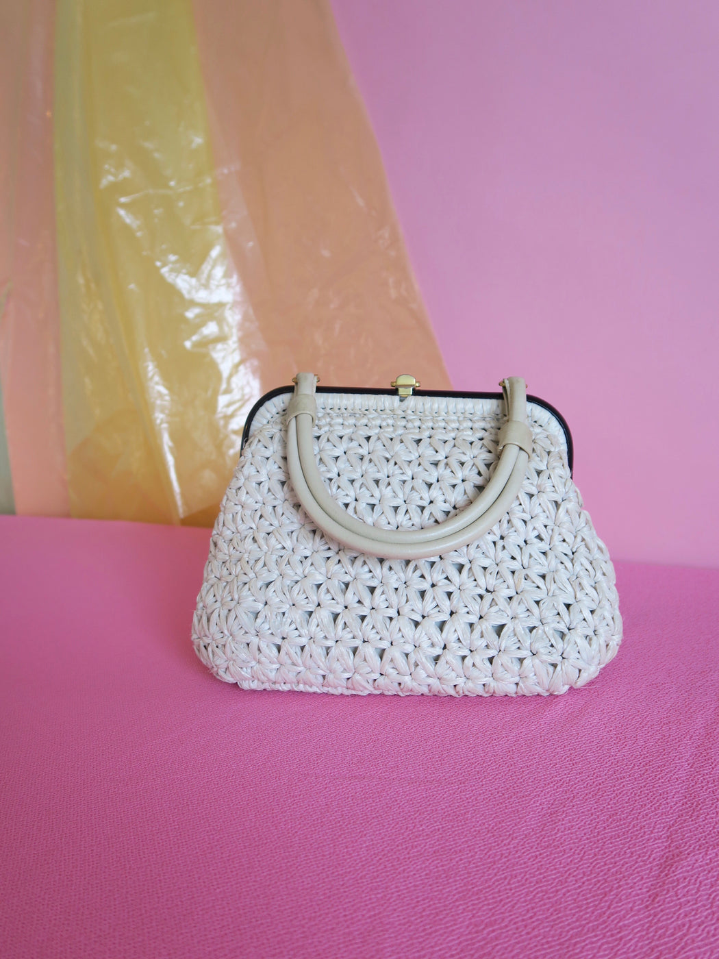 Cream Raffia Bag with Leather Handle