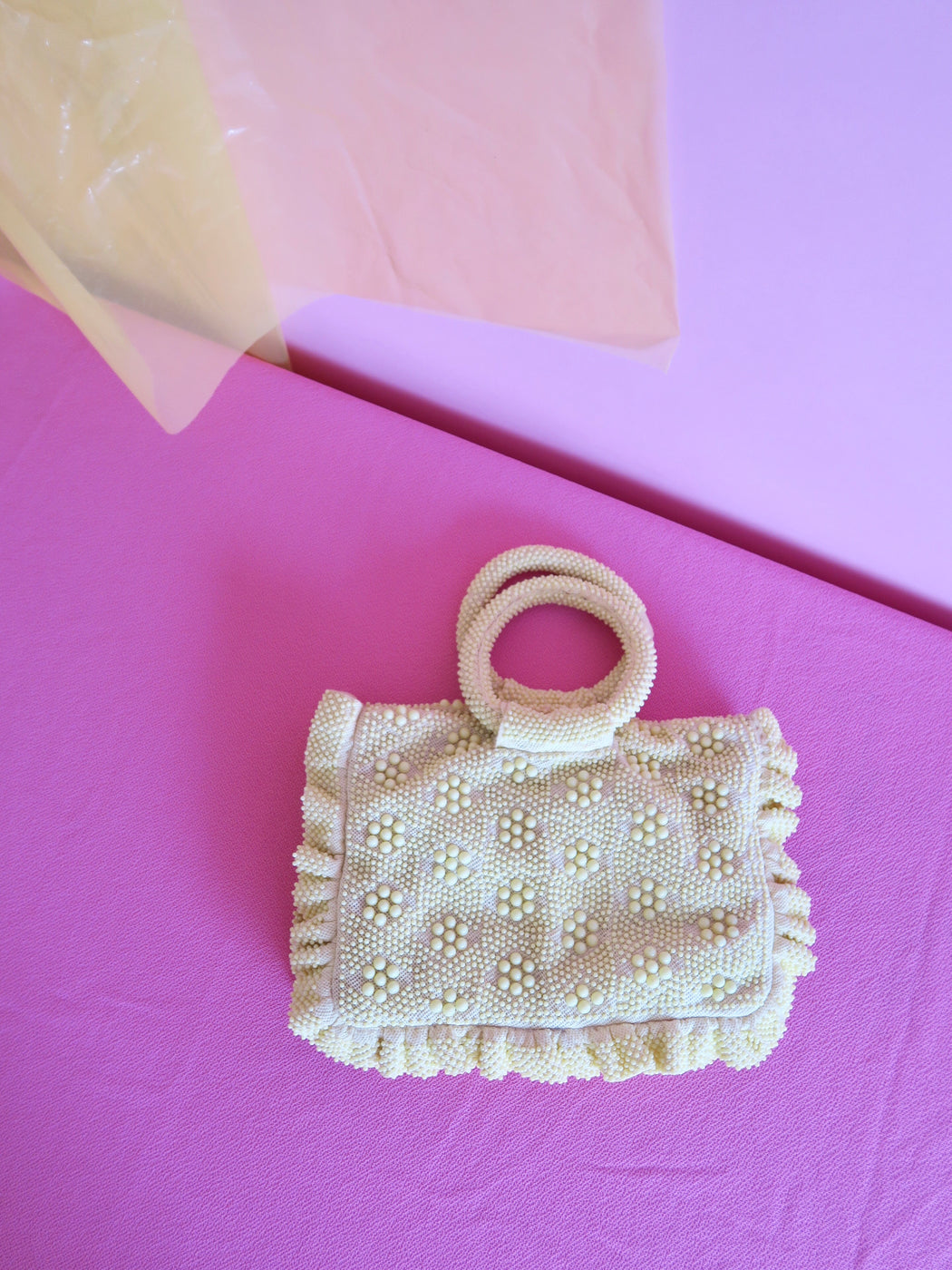 Soft Yellow Circle Handle Vintage Beaded Bag