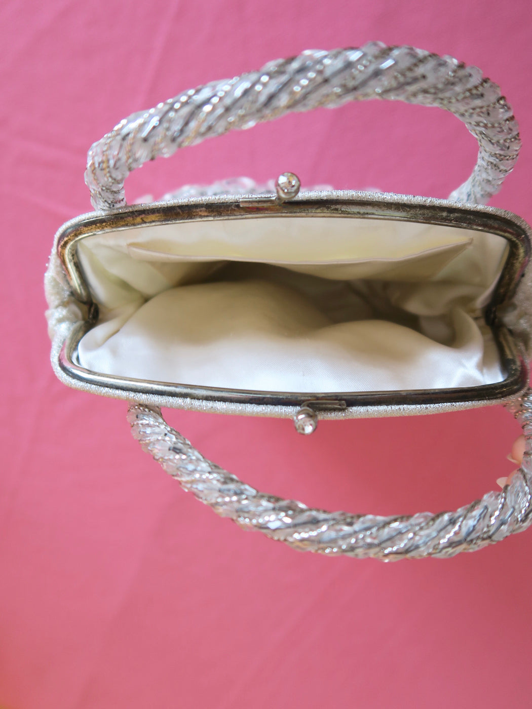 Silver Vintage Crystal Teardrop Bag